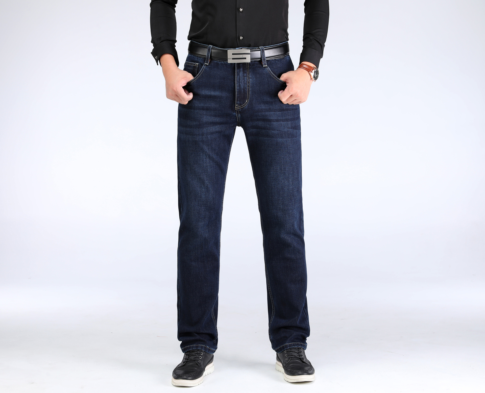Men Autumn And Winter Stretch Denim Trousers Men'S Wear New Style Loose And Plus-sized Business Casual Pants MEN'S Trousers