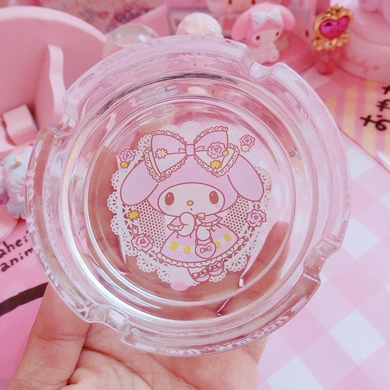 Cartoon Cute  Melody Circular Glass Ashtray Simple  Home Living Room Decoration Ashtray Gifts