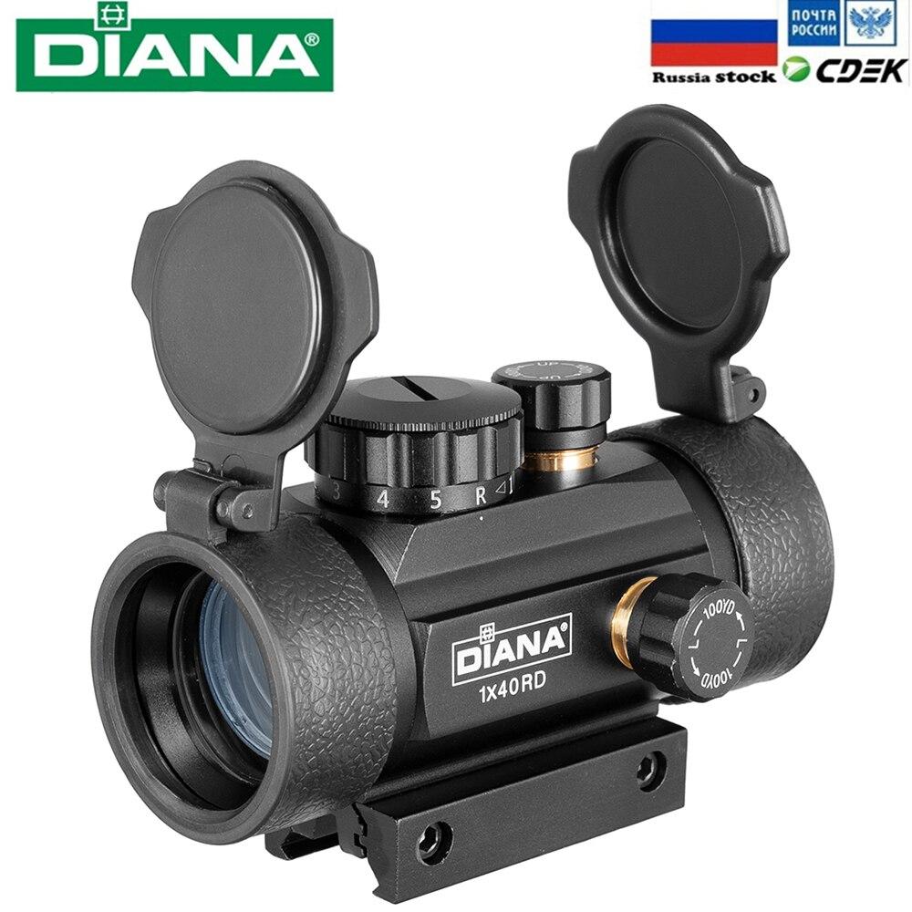 DIANA 1X40 2X40 3X44 Red Green Dot Sight Scope Tactical Optics Riflescope Fit 11 /20 milímetros Rail Rifle Scopes para Caça