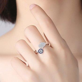 925 пробы Серебряный глаз синий глаз Хамса рука, Фатима руки регулируемые женские кольца открытый размер кольцо Свадебные ювелирные изделия, купить на алиэкспресс