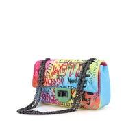 Graffiti bags for women 2019 new small square bag fashion shoulder chain bag Messenger bag crossbody bags shoulder bag