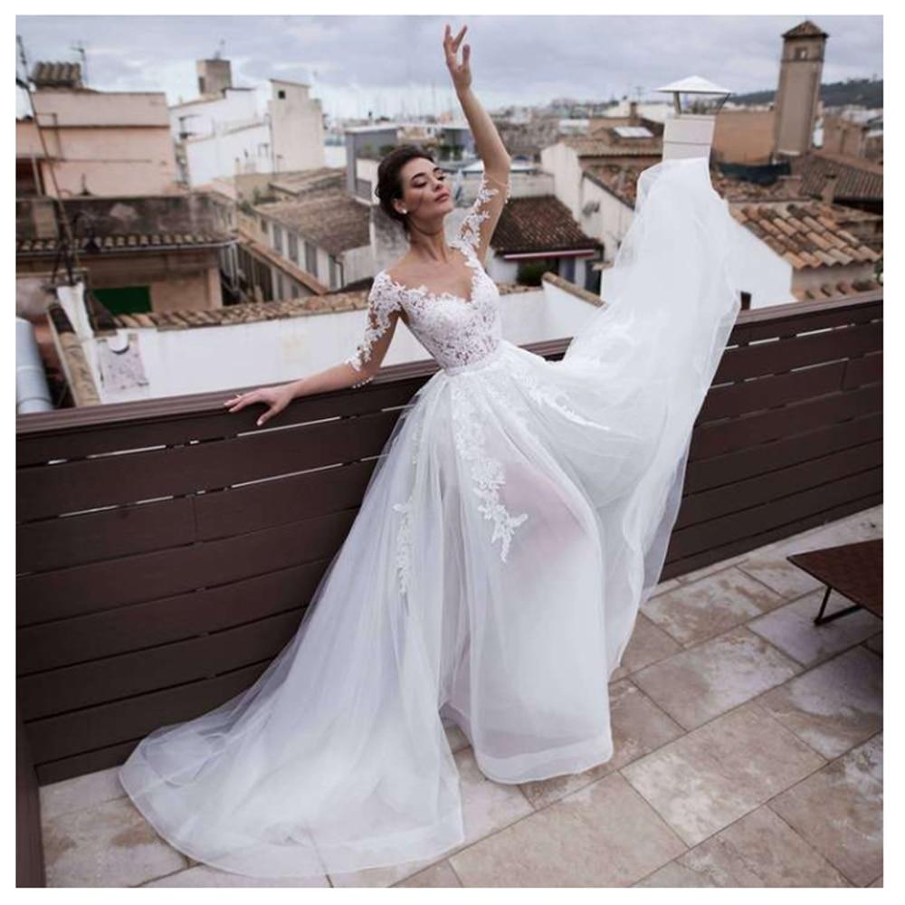 2 Pieces Detachable Skirt Wedding Dresses Illusion Half Sleeve Short Lace Dress Removable Train Bridal Gowns Vestido De Noiva
