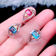 925 sterling silver natural blue topaz garnet girl ring translucent pure new geometric square support detection