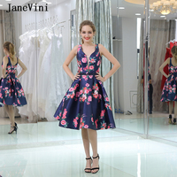 JaneVini Sexy V Neck Floral Print Short Homecoming Dresses Satin Sleeveless Beaded Knee Length Graduation Prom Gowns Robe Courte