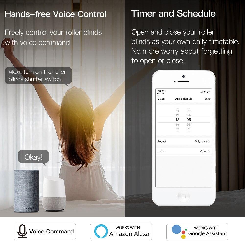 WiFi RF Smart Curtain Blinds Module Switch Roller Shutter Motor Tuya Wireless Remote Control Work with Alexa Google Home 4