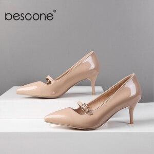 Image 2 - BESCONE moda kadın pompaları el yapımı sığ toka ince topuk ayakkabı yeni temel seksi sivri burun elbise yüksek topuk bayan pompaları BM78