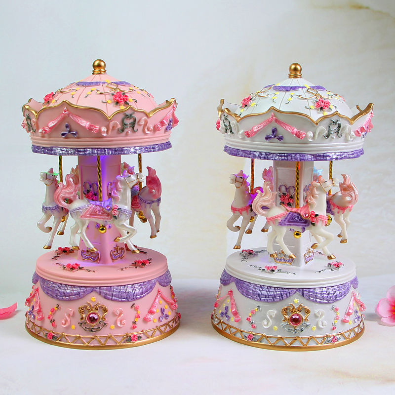 Merry Go Round Music box Geometric Baby Room decoration Gifts Unisex Resin Christmas Horse Carousel  Birthday Mother's Day Gift