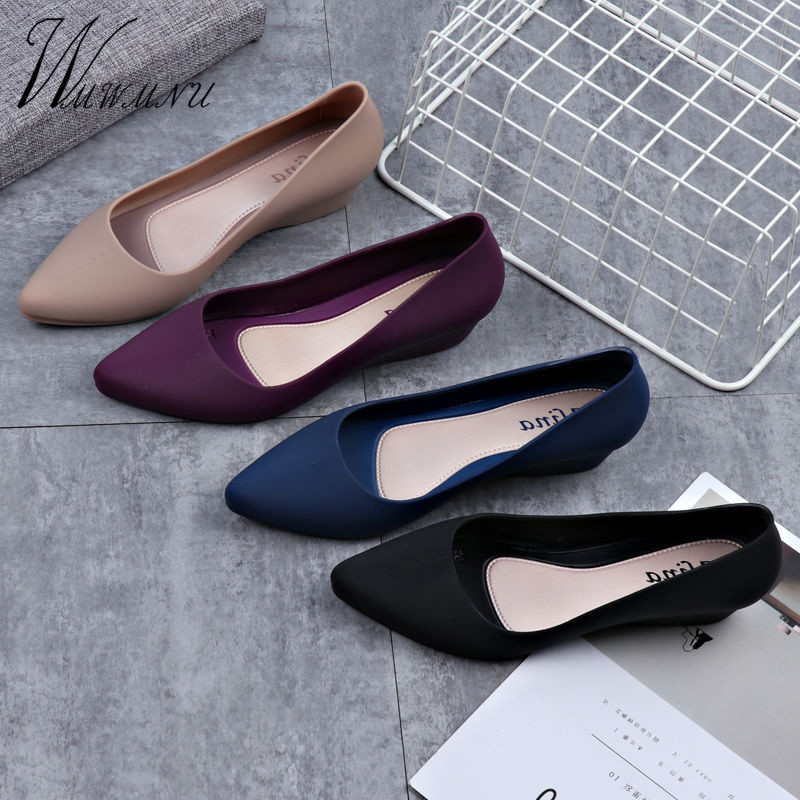 Lady Luxury Candy Color Party Pumps Shoes Spring Casual Work Office Nude Low Heels Fashion Solid Color Block Heel Shoes Blue New