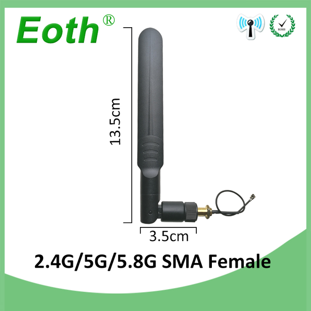 2.4GHz 5GHz 5.8Ghz Antenna 8dBi RP-SMA Connector Dual Band 2.4G 5G 5.8G wifi Antena aerial SMA female + 21cm Pigtal cable 2