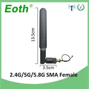 Image 3 - Wifi антенна 2,4 GHz 5GHz 5,8 Ghz антенна 8dBi RP SMA разъем двухдиапазонный 2,4G 5G 5,8G антенна SMA женский + 21 см свиной кабель
