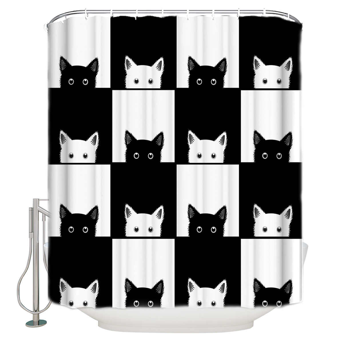 Geometic Black White Cat Shower Curtain Waterproof Bathroom Curtains Polyester Fabric Shower Curtains Hooks for Bathroom Decor