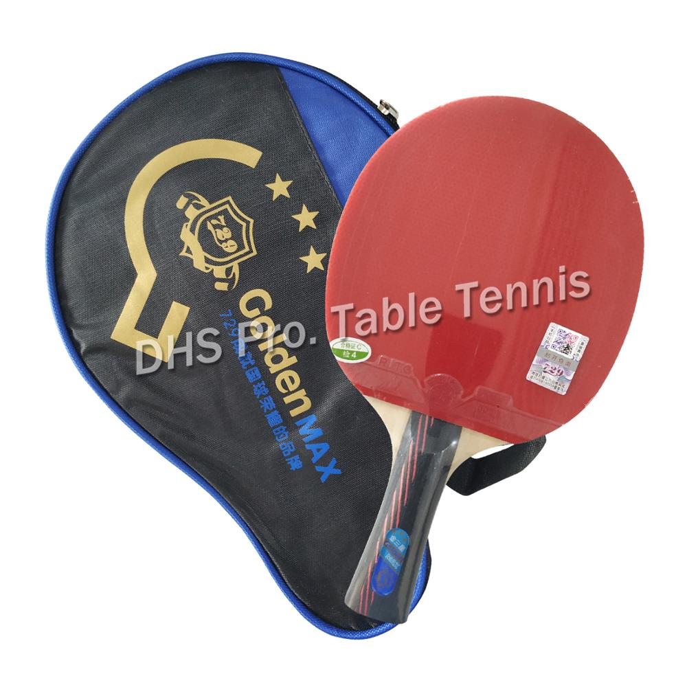RITC 729 Friendship Gold 3 Stars Y007# Pips-In Table Tennis Racket With Rubbers Free Case For PingPong