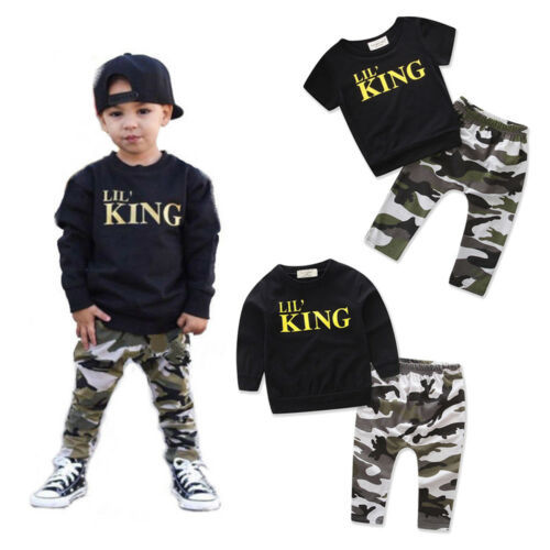2pcs Toddler Infant Kid Baby Boys T-shirt Tops + Long Pants Outfits King Print Baby Casual Clothes Set 1-6Y
