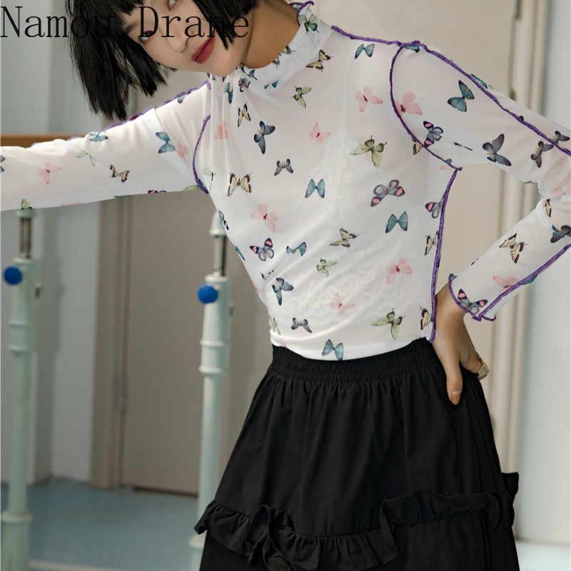 פרפר למעלה גולף מודפס חולצת טי רשת למעלה ארוך שרוול חולצה נשים קיץ אופנה 2020 טי ווג