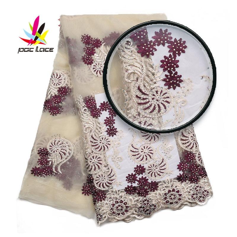 Wysokiej jakości tkaniny koronki nigerii haftowany tiul koronka tkaniny najnowszy projekt afryki francuski kamienie Tull koronki tkaniny AMY2016B 1 w Koronka od Dom i ogród na  Grupa 1