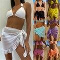 Frauen Badeanzug Bikini Abdeckung-Ups Rock Sommer Einfarbig Strand Wrap Rock Bademode Weiblichen Rüschen Trim Lace Up Sarong abdeckung Ups