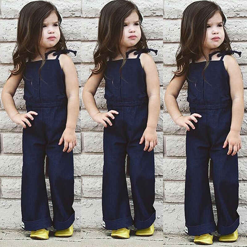 1-7Y enfant en bas âge enfants bébé fille salopette sangle sans manches dos nu Denim bavoir cloche bas pantalon barboteuse combinaison tenues bébé vêtements