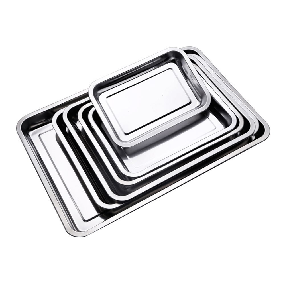 Stainless steel Storage Trays square plate thickening pans Rectangular tray Barbecue Deep rice dishes bbq kitchen accessories
