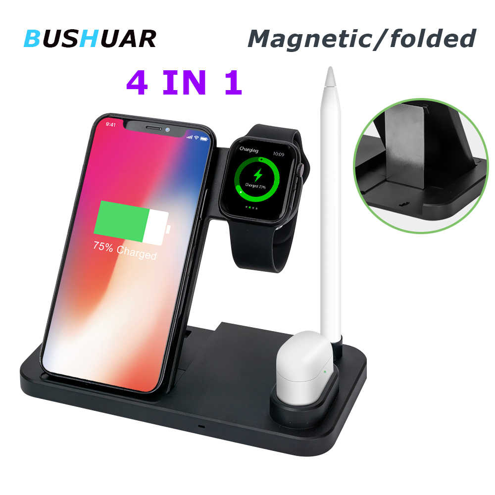 Foldable 4 in 1 10W Wireless Charger Dock Station For iPhone XR XS Max Fast Charging for Apple Watch 2 3 4 AirPods apple pencil