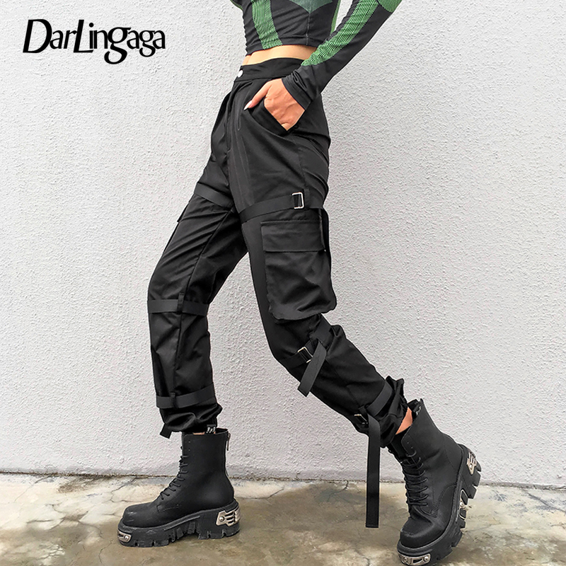 Darlingaga Fashion Solid Black Cargo   Pants   Women Streetwear Pockets Women's Trousers Adjustable Leg Ring High Waist   Pants     Capri