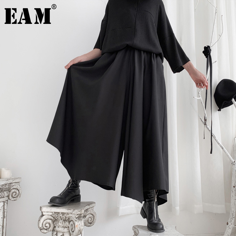 [EAM] High Elastic Waist Black Brief Long Wide Leg Trousers New Loose Fit Pants Women Fashion Tide Spring Autumn 2020 19A-a573