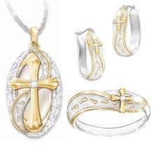 Luxury Women Wedding Necklace Earrings Ring Bridal Jewelry Set Creative Footprints & Cross 2019 New Arrivals
