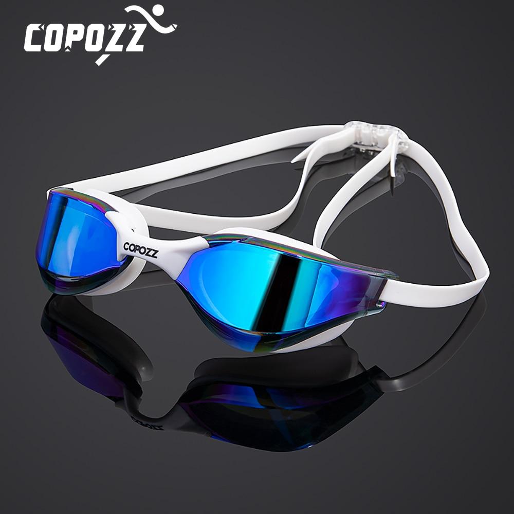 Профессиональные Водонепроницаемые очки COPOZZ для плавания с двойным покрытием и защитой от запотевания, мужские и женские очки с защитой от ...