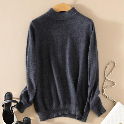 Women Cashmere 2021 New Autumn Winter Vintage Half Turtleneck Sweaters Plus Size Loose Wool Knitted Pullovers Female Knitwear11 20
