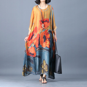 Silk dress summer loose big yards leisure printed pure silk dress  + condole belt vest or two sets silk dress