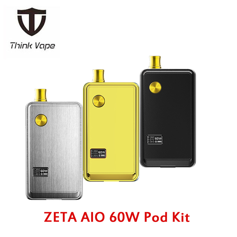 ThinkVape ZETA AIO 60W Pod Kit 3ML Tank With 1.0/0.5ohm Mesh Coil Powered By Single 18650 Battery Box Mod Vs MECHLYFE Ratel