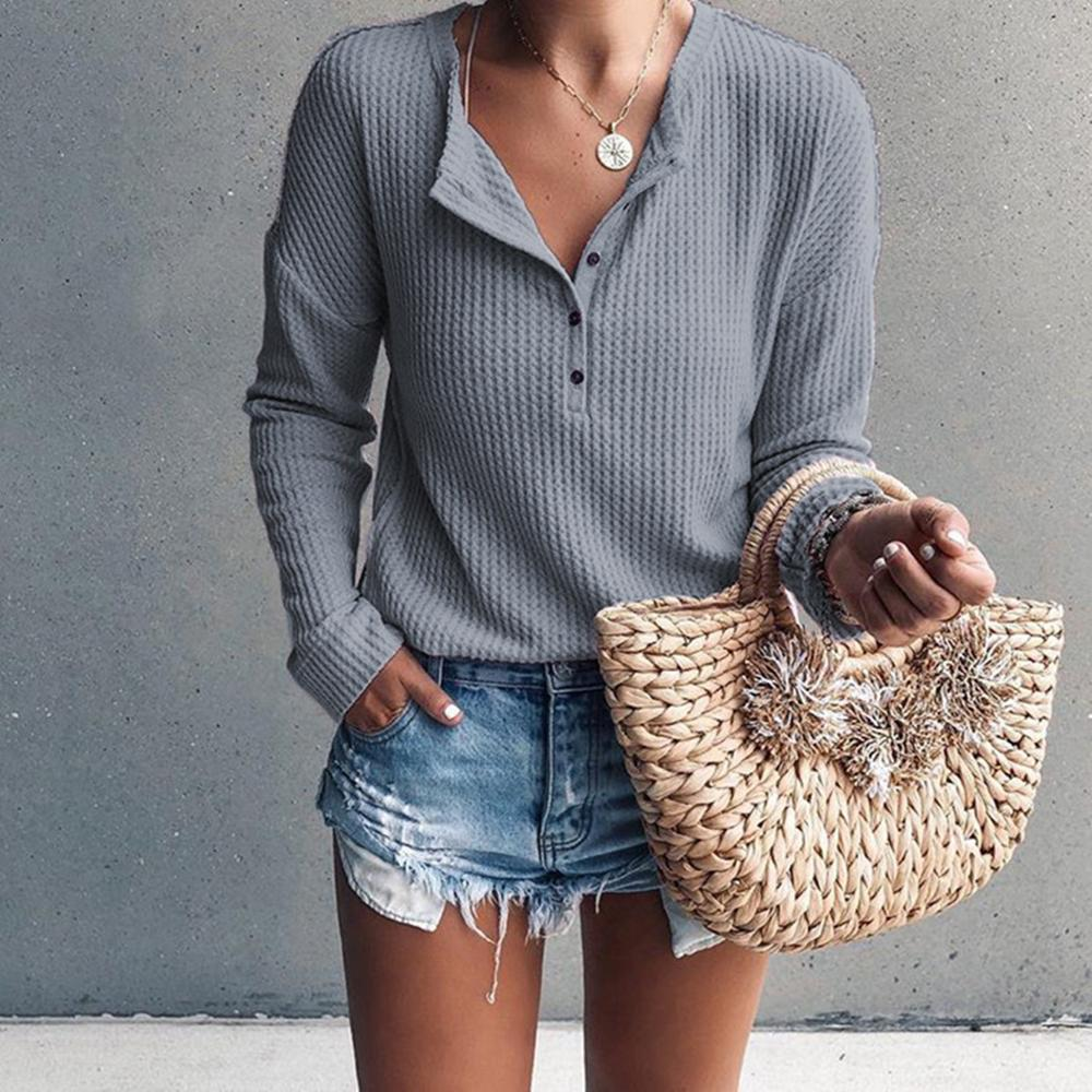 Women Fashion Casual Blouse Round Collar Solid Color Long-Sleeved Pullover Sexy Knitted Blouse