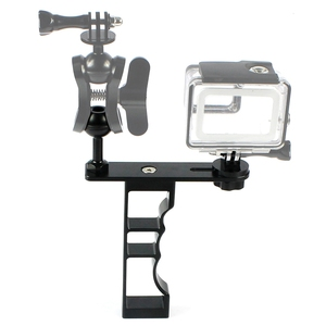Image 2 - Adecuado para Gopro Gama Completa Dslr Cámara Cnc aleación de aluminio de una sola mano de buceo fotografía soporte de mano soporte de la cámara