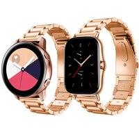 Für Galaxy Uhr getriebe s3 aktive 2 edelstahl uhr band für xiaomi amazfit gts 2 strap rosa gold für huawei UHR STRAP