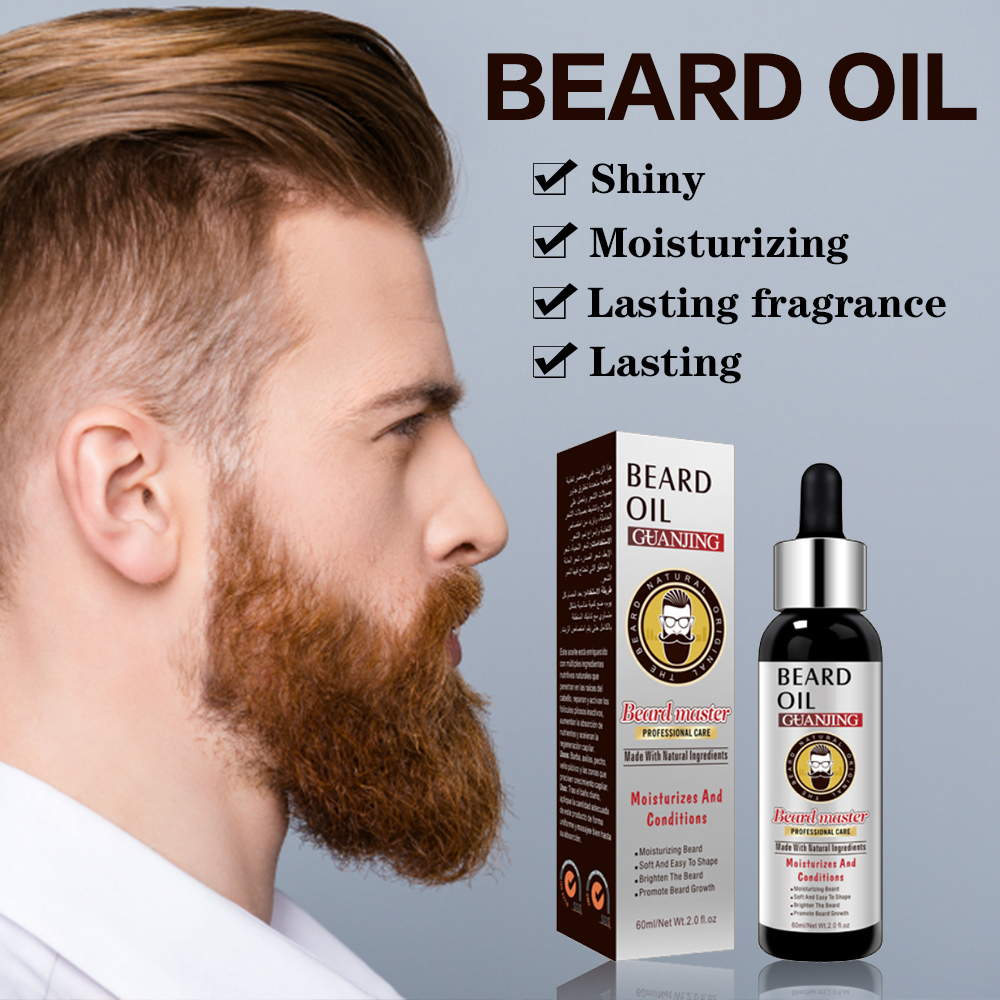 60ml Natural Organic Beard Growth Essential Oil For Men Beard Grooming Treatment Shiny Smoothing Beard Care Beard Enhance