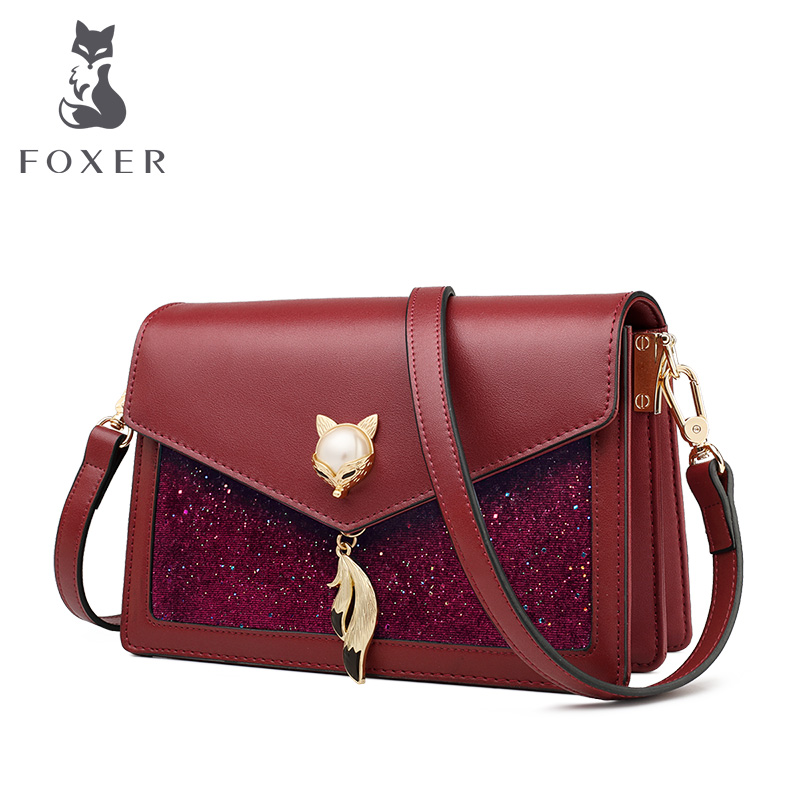FOXER Ladies Fashion Shoulder Brand Bags Small Glett Messenger Luxury Crossbody Bags Cowhide Leather Female Stylish Flap Bag