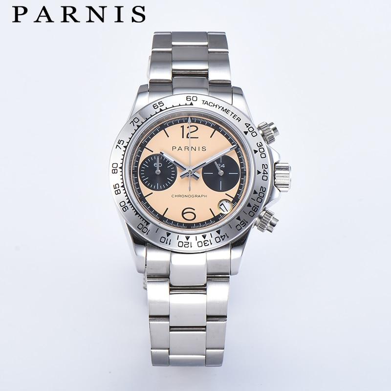 Модные Parnis 39 мм кварцевые мужские часы 22 мм ремешок стальной браслет хронограф мужские часы VK63 календарь движение Мужчины t мужчины подарок