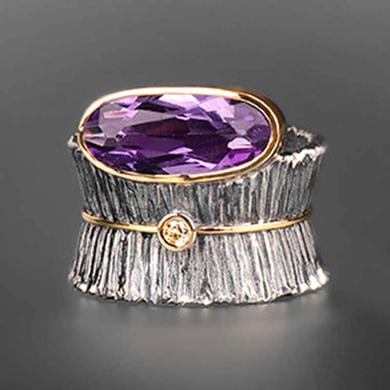 Vintage Purple Zircon Tree Bark Flower Ring Catching 2019 Jewelry Big Wide Women Men Cool Finger Rings Fine Jewelry Gifts Z4M292
