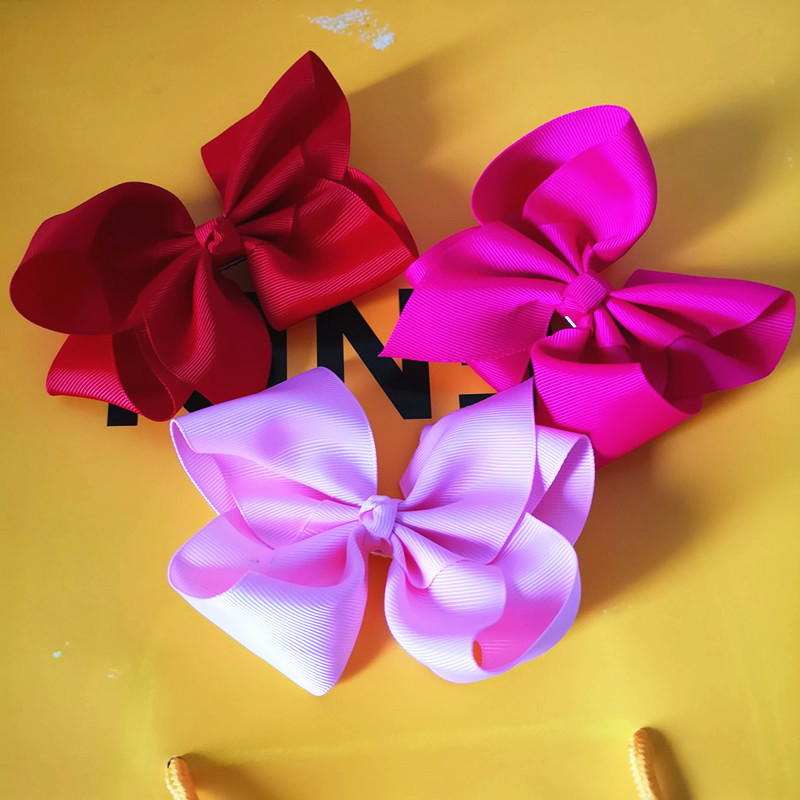 Children's Fashion Hairpin Chinese Red Head Flower, Girl Attending Party Wild Hair Accessories, Beautiful Bow Pink Hairpin