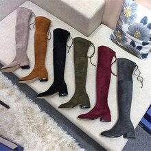 Chueyz 新靴の女性のブーツ黒膝のブーツセクシーな女性秋冬女性チャッキーかかとブーツ高級