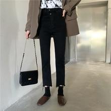 QoerliN Retro High Waist Jeans Women Pants Ripped Irregular Denim Pants Ankle Length Button Nine Trouser Plus Size Slim Jeans