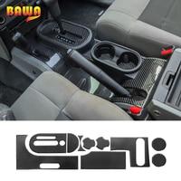 BAWA Automotive Interior Stickers for Wrangler JK Carbon Fiber Gear Shift Panel Decoration for Jeep Wrangler JK 2007 2010