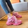 Mulheres chunky plataforma tênis designers de moda confortável velho pai sapatos mulher tênis feminino rendas até casual formadores verão