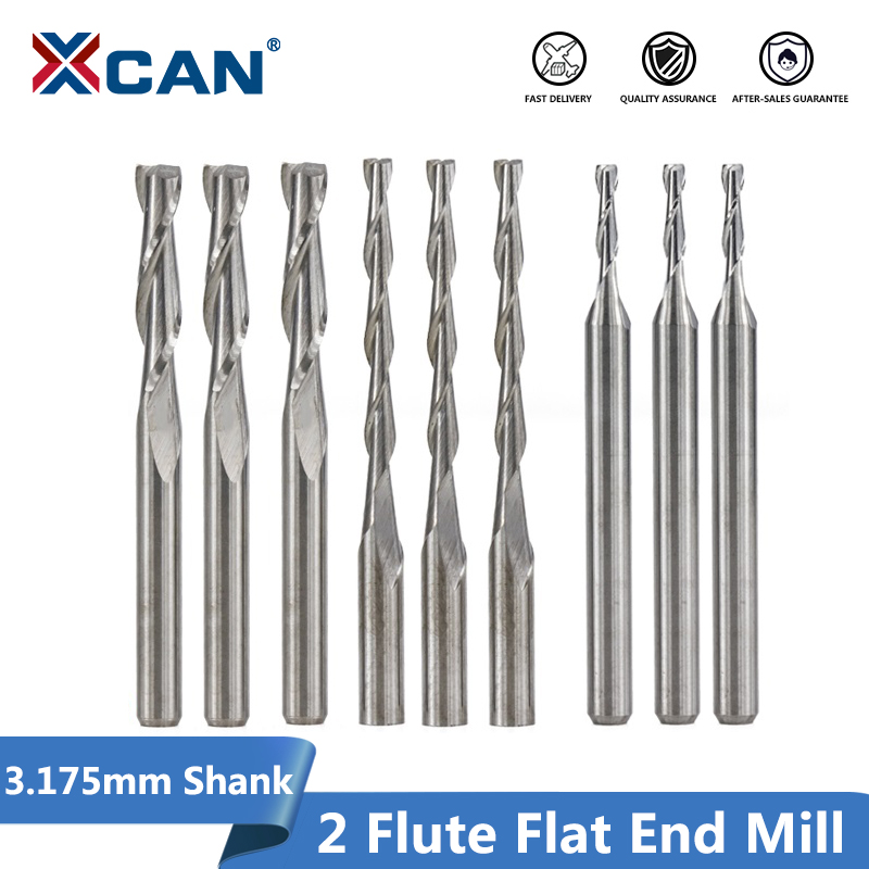 XCAN 10pcs 3.175 Shank 2 Flute Flat End Mills Spiral CNC Router Bit For Engraving Flat Milling Cutter 0.8/1/1.5/2.0/2.5/3.175mm