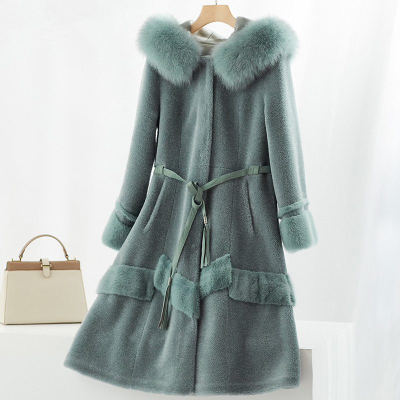 Sheep Real Shearling Fur Coat Female Fox Fur Collar 100% Wool Coats 2020 Winter Jacket Women Korean Long Jackets MY4064 S S