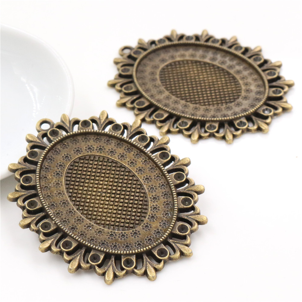 5pcs 30x40mm Inner Size Antique Bronze Cabochon Base Setting Charms Pendant (B3-61)