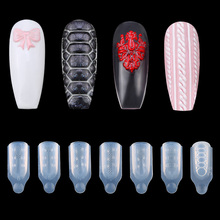 3pcs/set Nail Silicone Carving Mold DIY Nail Art Decoration 3D UV Gel Soft Decorations Manicure ToolsAcrylic Clip For 3d nail art fimo soft polymer clay fruit slices cartoon for nail manicure sticker cell phones diy designs wheel decoration czp35
