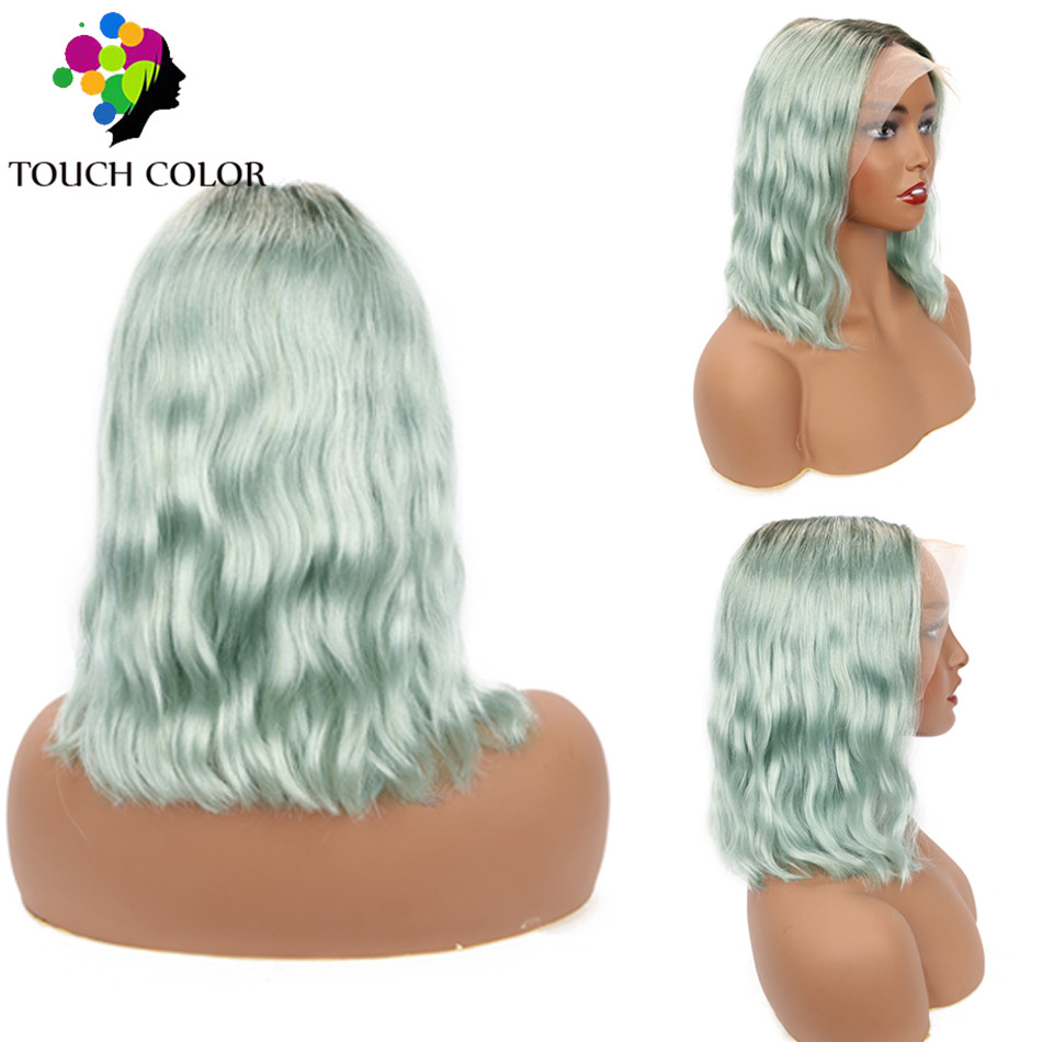 Ombre Colored Lace Frontal Wig 13x4 Indian Body Wave Short Bob Wigs For Black Women Remy Human Hair Lace Frontal Wig Pre Plucked
