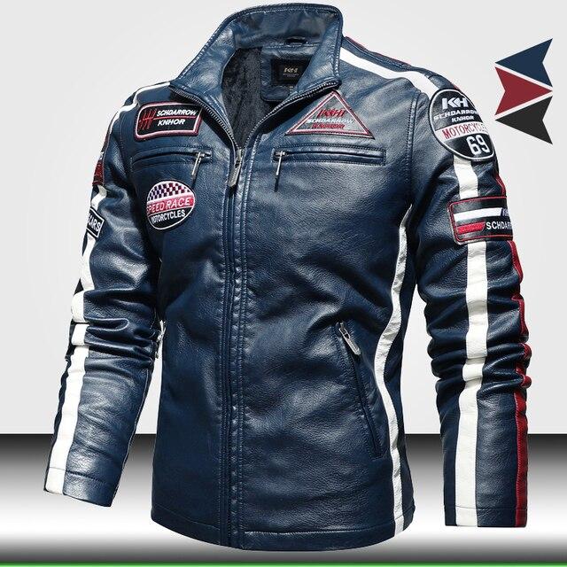 Vintage Motorcycle Jacket 2020 Men Fashion New Biker Leather Jacket Male Embroidery Bomber Coat Winter Fleece Pu Overcoat