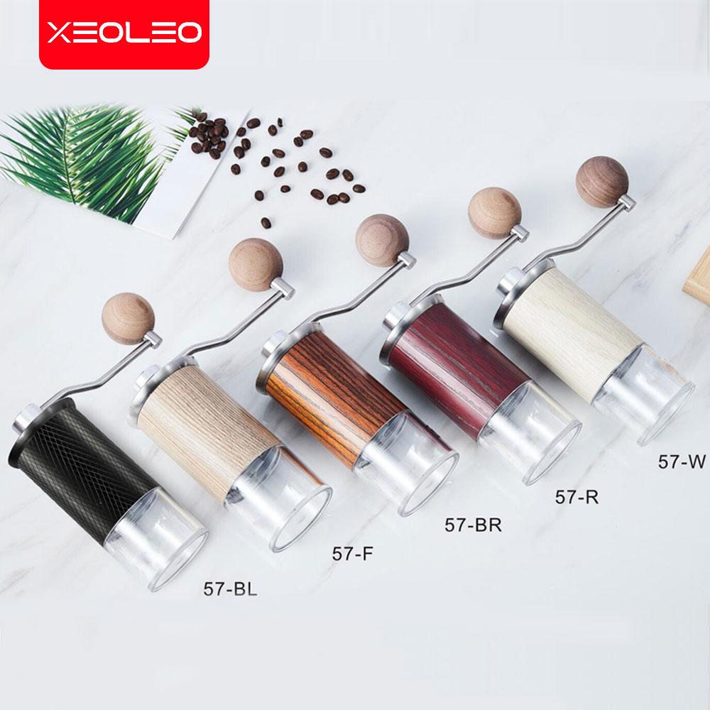 XEOLEO Portable Coffee grinder Aluminum Manual Coffee miller Conical Coffee milling machine 57mm Espresso maker