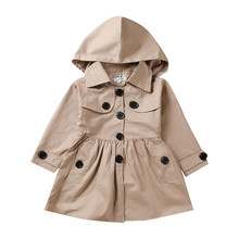 Baby Girl Long Sleeve Solid Ruched Trench Hooded Windproof Coat Girls Coat Baby